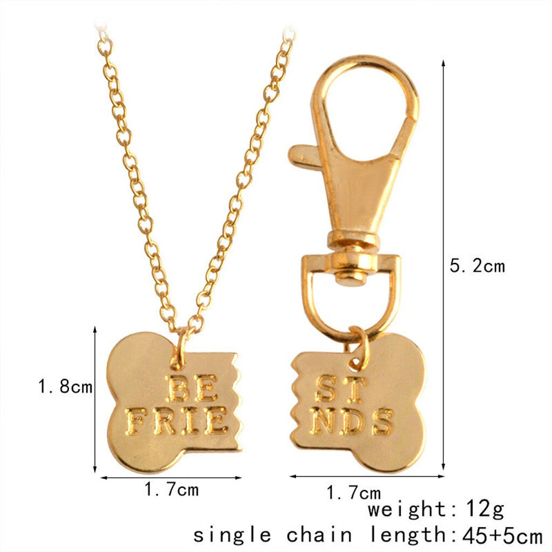Bone 'Best Friends' Two Piece Pendant Owner Half Necklace and Half Dog Tag in Gold / Silver Color - dogsl1fe.myshopify.com - FREE SHIPPING - [variant_title] - Home of Top quality dog products & Accessories for dogs and dog lovers
