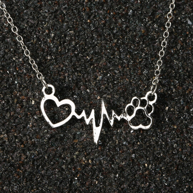Heart and Dog Paw in Pulse Heartbeat Monitor Pattern on Chain Necklace in Rose Gold or Silver Color - dogsl1fe.myshopify.com - FREE SHIPPING - [variant_title] - Home of Top quality dog products & Accessories for dogs and dog lovers