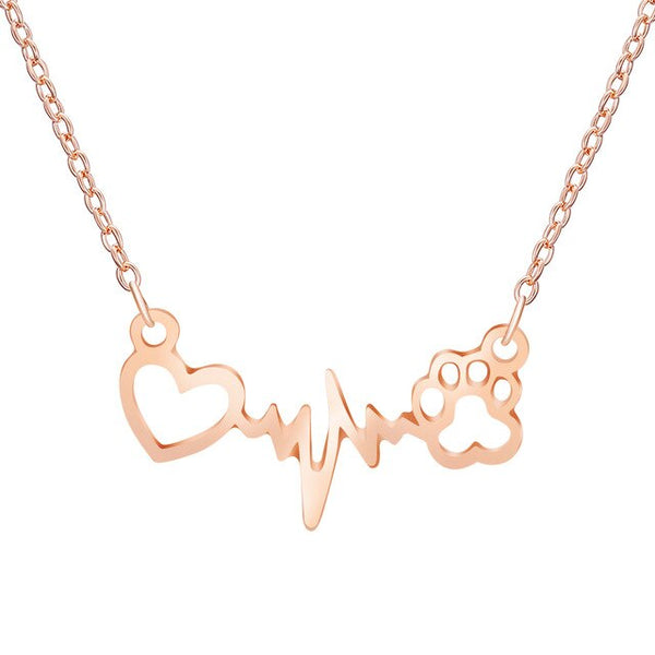 Heart and Dog Paw in Pulse Heartbeat Monitor Pattern on Chain Necklace in Rose Gold or Silver Color - dogsl1fe.myshopify.com - FREE SHIPPING - Rose gold / 1 pc / United States - Home of Top quality dog products & Accessories for dogs and dog lovers