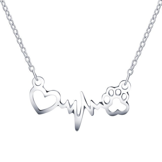 Heart and Dog Paw in Pulse Heartbeat Monitor Pattern on Chain Necklace in Rose Gold or Silver Color - dogsl1fe.myshopify.com - FREE SHIPPING - Silver / 1 pc / United States - Home of Top quality dog products & Accessories for dogs and dog lovers