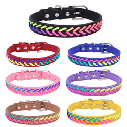 Colorful Adjustable Microfiber Knitted Neon Rope Detail Dog Collar with Buckle (Various Colors & Sizes) - dogsl1fe.myshopify.com - FREE SHIPPING - [variant_title] - Home of Top quality dog products & Accessories for dogs and dog lovers