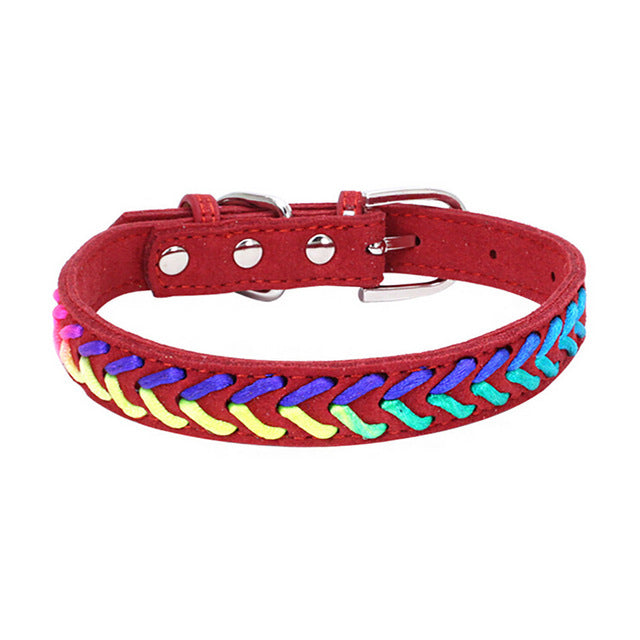 Colorful Adjustable Microfiber Knitted Neon Rope Detail Dog Collar with Buckle (Various Colors & Sizes) - dogsl1fe.myshopify.com - FREE SHIPPING - Red / L / United States - Home of Top quality dog products & Accessories for dogs and dog lovers