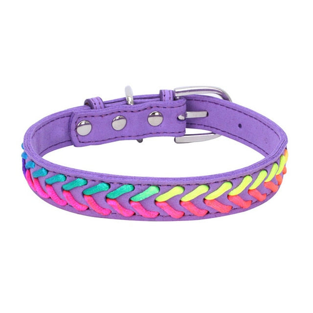 Colorful Adjustable Microfiber Knitted Neon Rope Detail Dog Collar with Buckle (Various Colors & Sizes) - dogsl1fe.myshopify.com - FREE SHIPPING - Purple / XS / United States - Home of Top quality dog products & Accessories for dogs and dog lovers