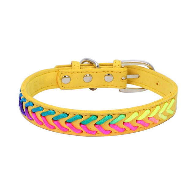Colorful Adjustable Microfiber Knitted Neon Rope Detail Dog Collar with Buckle (Various Colors & Sizes) - dogsl1fe.myshopify.com - FREE SHIPPING - Yellow / L / United States - Home of Top quality dog products & Accessories for dogs and dog lovers