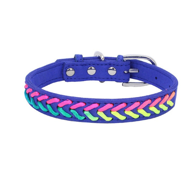 Colorful Adjustable Microfiber Knitted Neon Rope Detail Dog Collar with Buckle (Various Colors & Sizes) - dogsl1fe.myshopify.com - FREE SHIPPING - Blue / XS / United States - Home of Top quality dog products & Accessories for dogs and dog lovers