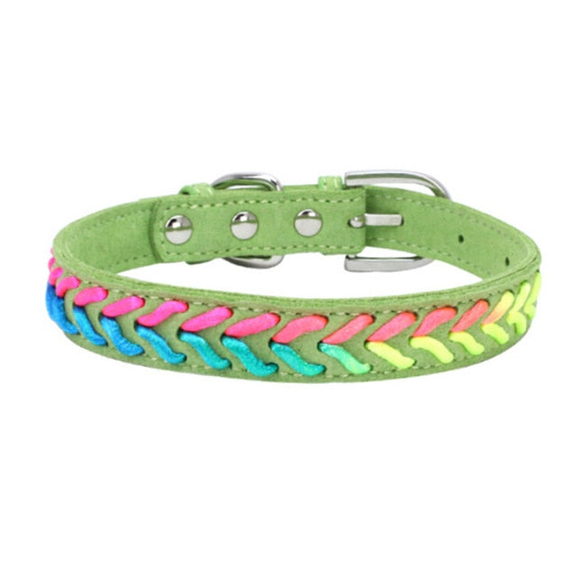 Colorful Adjustable Microfiber Knitted Neon Rope Detail Dog Collar with Buckle (Various Colors & Sizes) - dogsl1fe.myshopify.com - FREE SHIPPING - Green / L / United States - Home of Top quality dog products & Accessories for dogs and dog lovers
