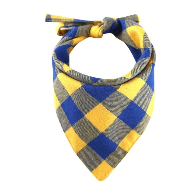 Cotton Plaid Check Dog Bandanna Kerchief Pet Scarf (4 Colors) - dogsl1fe.myshopify.com - FREE SHIPPING - Yellow / United States - Home of Top quality dog products & Accessories for dogs and dog lovers