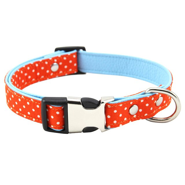 Polka Dot Adjustable Fabric Padded Dog Collar with Breakaway Clip (Various Colors & Sizes) - dogsl1fe.myshopify.com - FREE SHIPPING - O / M / United States - Home of Top quality dog products & Accessories for dogs and dog lovers