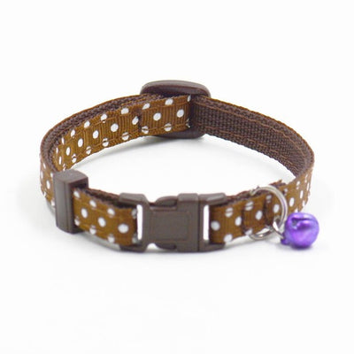 Polka Dot Adjustable Nylon Dog Collar with Bell and Breakaway Clip for Small Dog or Puppy (Various Colors)