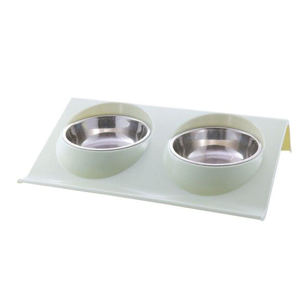 Dual Non-Slip Mounted Double Dog Bowl Stainless Steel Inner Non-Toxic Plastic Pet Feeder (Various Colors & Sizes) - dogsl1fe.myshopify.com - FREE SHIPPING - 3 / S / United States - Home of Top quality dog products & Accessories for dogs and dog lovers