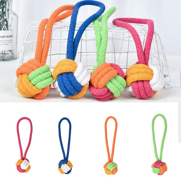 Cotton Rope Knot Ball Dog Toy with Hoop Tug of War (Various Colors) - dogsl1fe.myshopify.com - FREE SHIPPING - [variant_title] - Home of Top quality dog products & Accessories for dogs and dog lovers