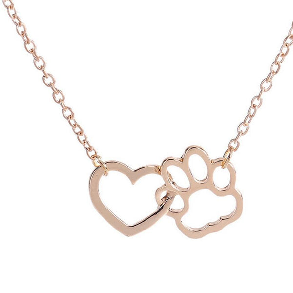 Heart and Dog Paw Link Pendant Loop Detail on Chain Necklace in Gold or Silver Color - dogsl1fe.myshopify.com - FREE SHIPPING - [variant_title] - Home of Top quality dog products & Accessories for dogs and dog lovers