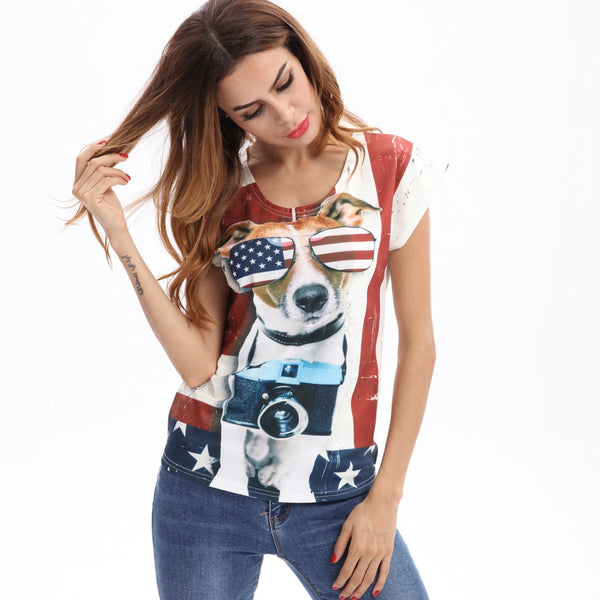 Women's Dog Sunglasses Print USA Flag Design T-shirt - dogsl1fe.myshopify.com - FREE SHIPPING - [variant_title] - Home of Top quality dog products & Accessories for dogs and dog lovers