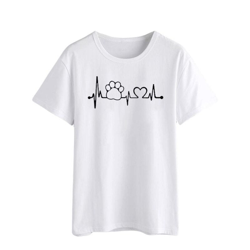 Women's Paw and Heart in Pulse Heartbeat Monitor Pattern Dog T-shirt (Various Colors & Sizes)