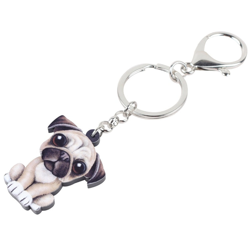 Acrylic Puppy Cartoon Pug Keychain Charm Dog Keyring - dogsl1fe.myshopify.com - FREE SHIPPING - [variant_title] - Home of Top quality dog products & Accessories for dogs and dog lovers