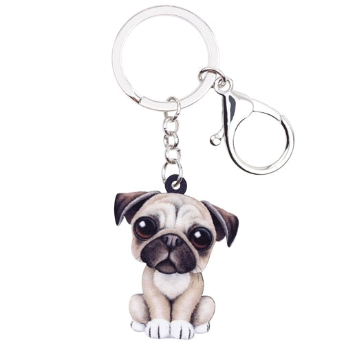 Cartoon Pug Puppy Acrylic Charm Keyring French Bulldog Dog Pup Keychain