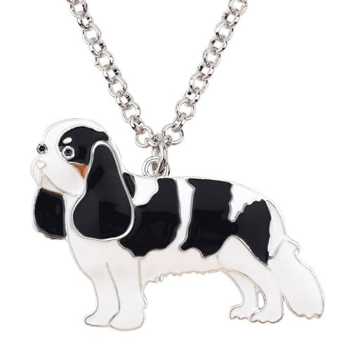 Cavalier King Charles Spaniel Painted Enamel Dog Pendant on Chain Necklace (Various Styles)