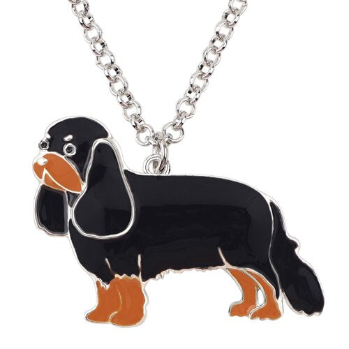 Cavalier King Charles Spaniel Painted Enamel Dog Pendant on Chain Necklace (Various Styles) - dogsl1fe.myshopify.com - FREE SHIPPING - D / United States - Home of Top quality dog products & Accessories for dogs and dog lovers