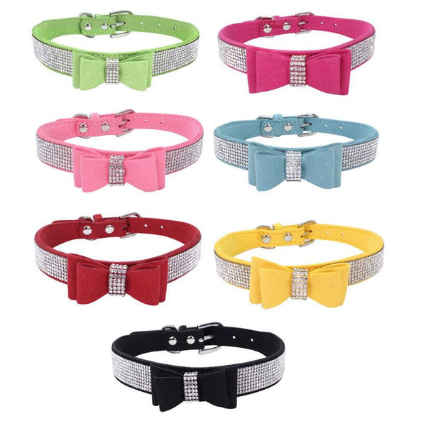 Luxury Rhinestones & Leather Bow Tie Dog Collar - dogsl1fe.myshopify.com - FREE SHIPPING - [variant_title] - Home of Top quality dog products & Accessories for dogs and dog lovers