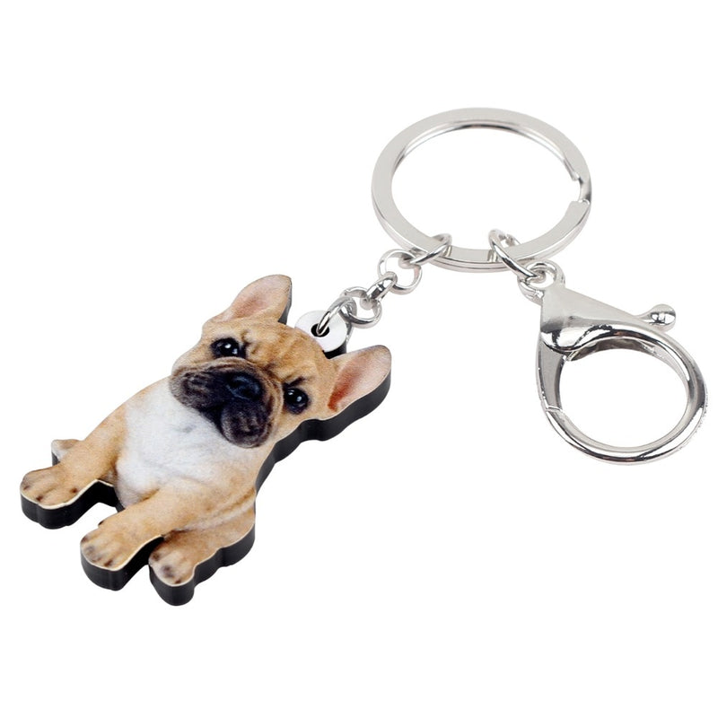 French Bulldog Puppy Acrylic Charm Keychain Dog Pup Keyring - dogsl1fe.myshopify.com - FREE SHIPPING - [variant_title] - Home of Top quality dog products & Accessories for dogs and dog lovers