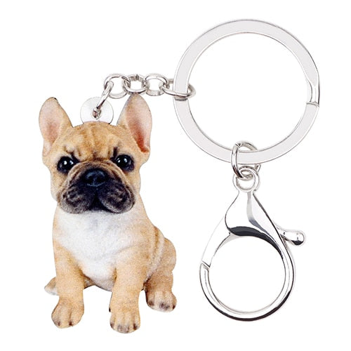French Bulldog Puppy Acrylic Charm Keychain Dog Pup Keyring