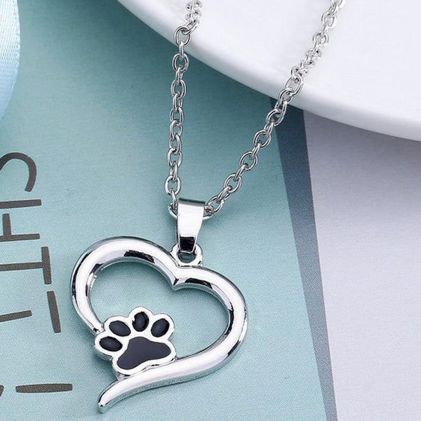 Silver Heart with Black Dog Paw on Chain Necklace