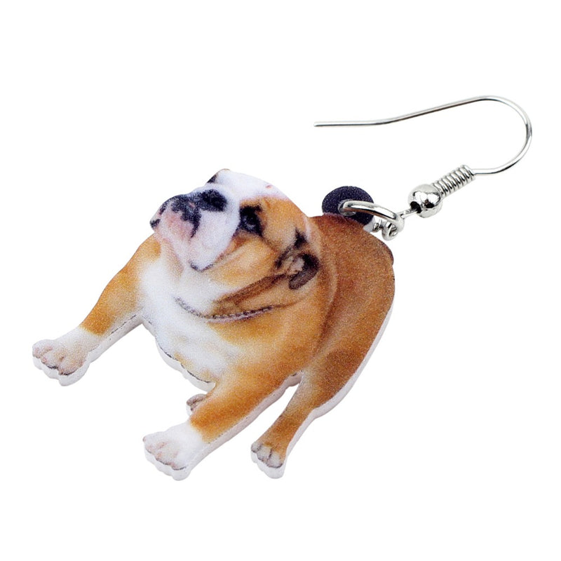 British Bulldog Photo Dog Design Acrylic Charm Dangle Style Drop Earrings - dogsl1fe.myshopify.com - FREE SHIPPING - [variant_title] - Home of Top quality dog products & Accessories for dogs and dog lovers