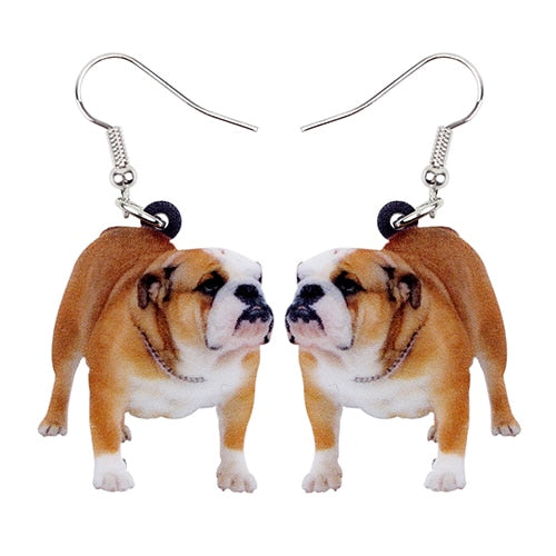 British Bulldog Photo Dog Design Acrylic Charm Dangle Style Drop Earrings