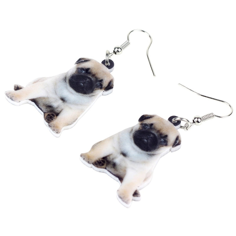 Pug Puppy Dog Photo Design Acrylic Charm Dangle Style Drop Earrings