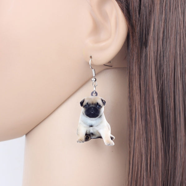 Pug Puppy Dog Photo Design Acrylic Charm Dangle Style Drop Earrings - dogsl1fe.myshopify.com - FREE SHIPPING - [variant_title] - Home of Top quality dog products & Accessories for dogs and dog lovers