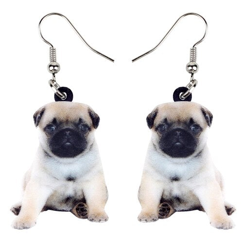 Pug Puppy Dog Photo Design Acrylic Charm Dangle Style Drop Earrings - dogsl1fe.myshopify.com - FREE SHIPPING - Default Title - Home of Top quality dog products & Accessories for dogs and dog lovers