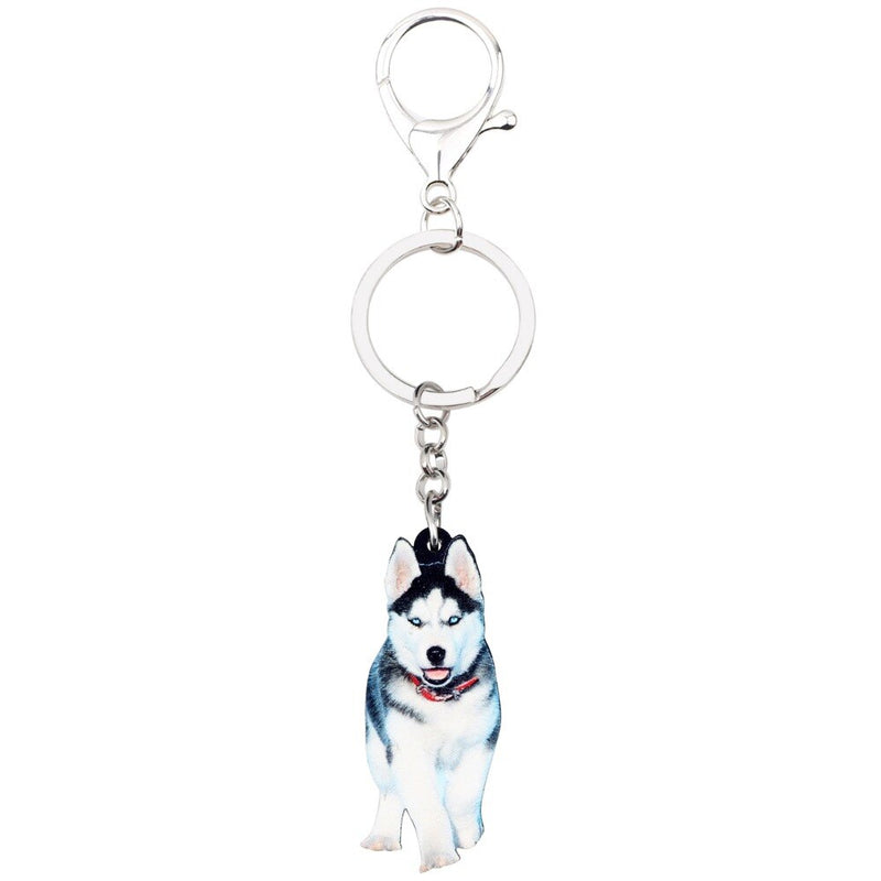 Siberian Husky Puppy Acrylic Charm Keychain Dog Keyring - dogsl1fe.myshopify.com - FREE SHIPPING - [variant_title] - Home of Top quality dog products & Accessories for dogs and dog lovers