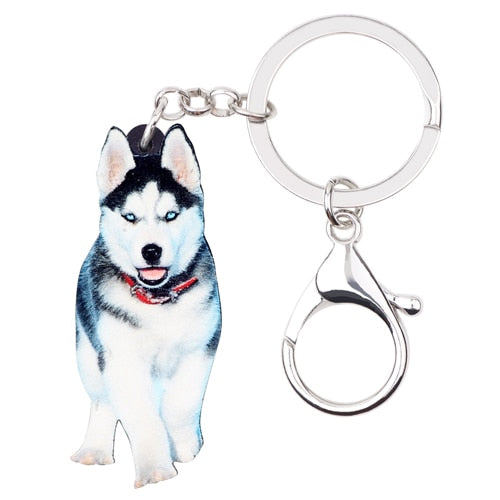 Siberian Husky Puppy Acrylic Charm Keychain Dog Keyring - dogsl1fe.myshopify.com - FREE SHIPPING - Default Title - Home of Top quality dog products & Accessories for dogs and dog lovers