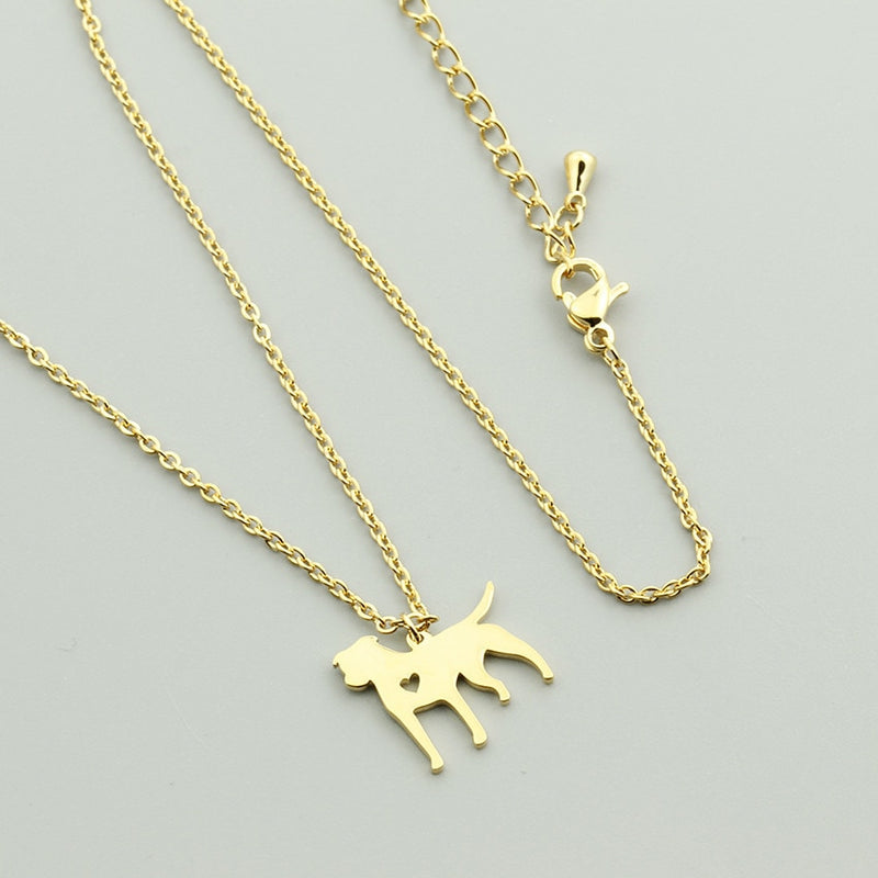 Pitbull Dog Pendant with Mini Cut Out Heart Detail on Chain Necklace in Gold or Silver Color - dogsl1fe.myshopify.com - FREE SHIPPING - [variant_title] - Home of Top quality dog products & Accessories for dogs and dog lovers