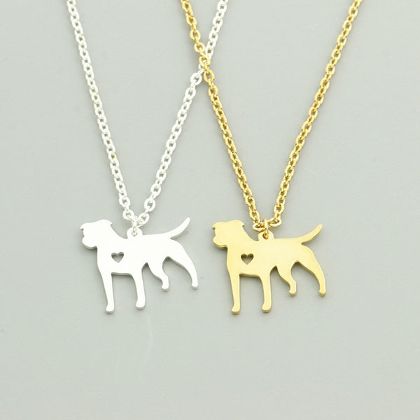 Pitbull Dog Pendant with Mini Cut Out Heart Detail on Chain Necklace in Gold or Silver Color