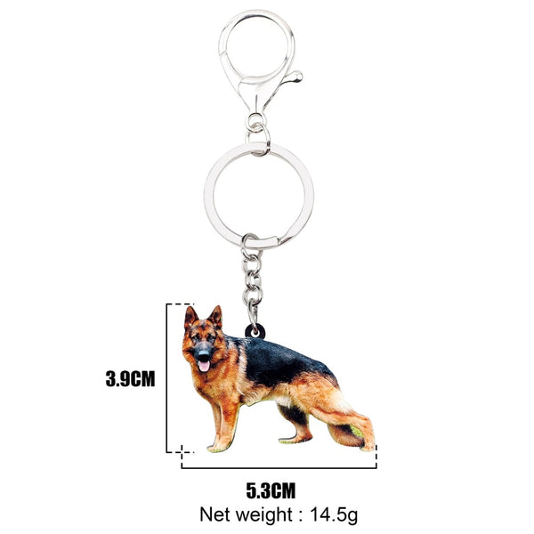 German Shepherd Acrylic Charm Keyring Dog Puppy Keychain