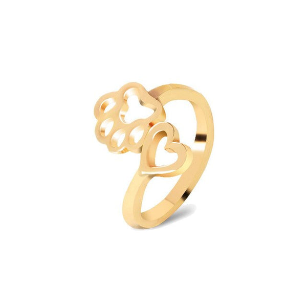 Heart with Dog Paw Design Jewelry Ring in Gold or Silver Color
