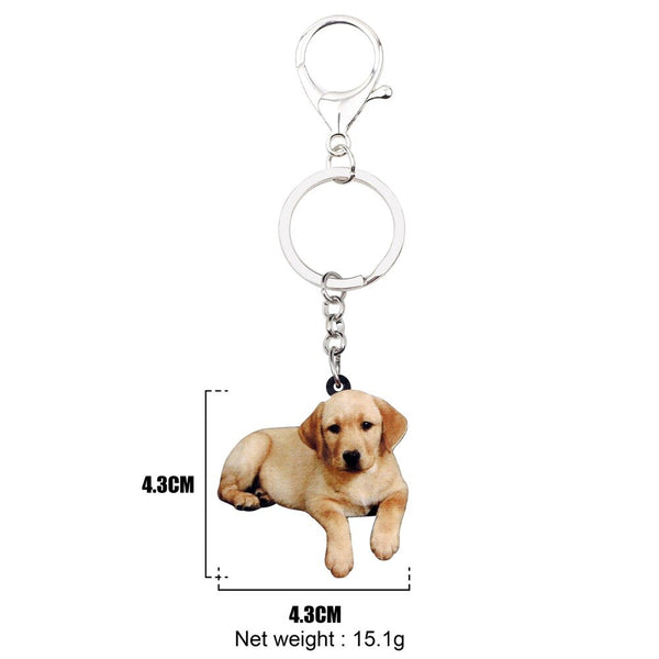Golden Labrador Puppy Acrylic Charm Keychain Lab Dog Keyring - dogsl1fe.myshopify.com - FREE SHIPPING - [variant_title] - Home of Top quality dog products & Accessories for dogs and dog lovers