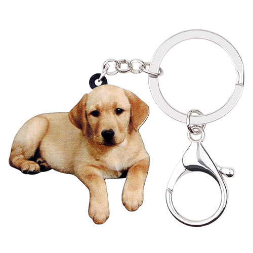 Golden Labrador Puppy Acrylic Charm Keychain Lab Dog Keyring - dogsl1fe.myshopify.com - FREE SHIPPING - Default Title - Home of Top quality dog products & Accessories for dogs and dog lovers