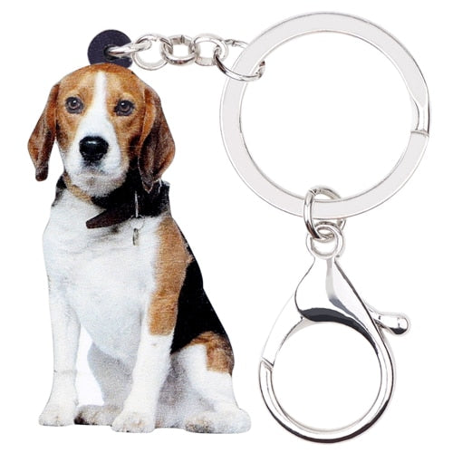 Beagle Acrylic Charm Keyring Dog Puppy Keychain - dogsl1fe.myshopify.com - FREE SHIPPING - Default Title - Home of Top quality dog products & Accessories for dogs and dog lovers