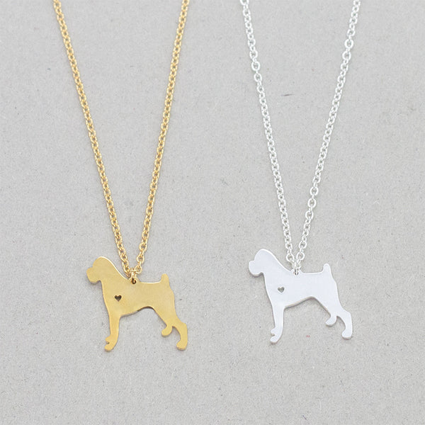 Rottweiler Dog Pendant with Mini Cut Out Heart Detail on Chain Necklace in Gold or Silver Color