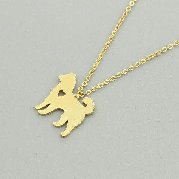 Husky Dog Pendant with Mini Cut Out Heart Detail on Chain Necklace in Gold or Silver Color