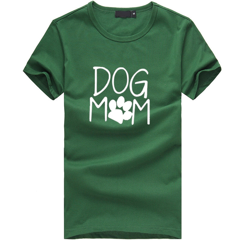 Women's 'Dog Mom' Paw Print Design T-shirt (Various Colors)