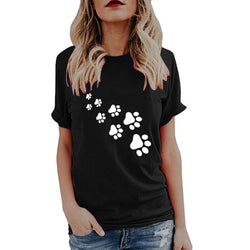 Women's Paw Print Trail Design Casual Dog T-shirt (Various Colors & Sizes) - dogsl1fe.myshopify.com - FREE SHIPPING - Black / S / United States - Home of Top quality dog products & Accessories for dogs and dog lovers