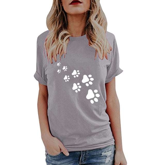 Women's Paw Print Trail Design Casual Dog T-shirt (Various Colors & Sizes) - dogsl1fe.myshopify.com - FREE SHIPPING - Gray / S / United States - Home of Top quality dog products & Accessories for dogs and dog lovers