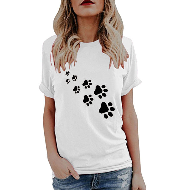 Women's Paw Print Trail Design Casual Dog T-shirt (Various Colors & Sizes) - dogsl1fe.myshopify.com - FREE SHIPPING - White / S / United States - Home of Top quality dog products & Accessories for dogs and dog lovers