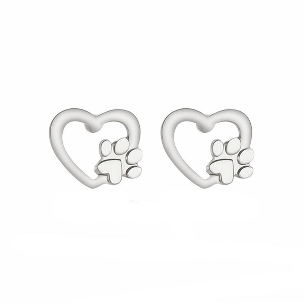Heart with Dog Paw Design Jewelry Stud Earrings in Gold or Silver Color - dogsl1fe.myshopify.com - FREE SHIPPING - [variant_title] - Home of Top quality dog products & Accessories for dogs and dog lovers
