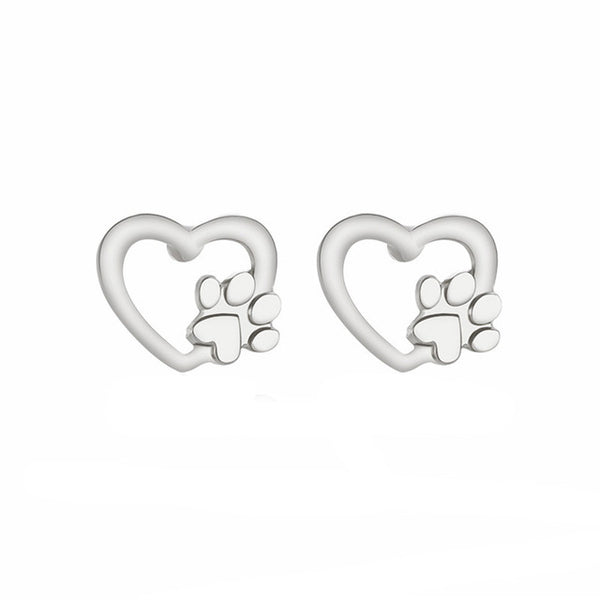 Heart with Dog Paw Design Jewelry Stud Earrings in Gold or Silver Color - dogsl1fe.myshopify.com - FREE SHIPPING - SL / United States - Home of Top quality dog products & Accessories for dogs and dog lovers