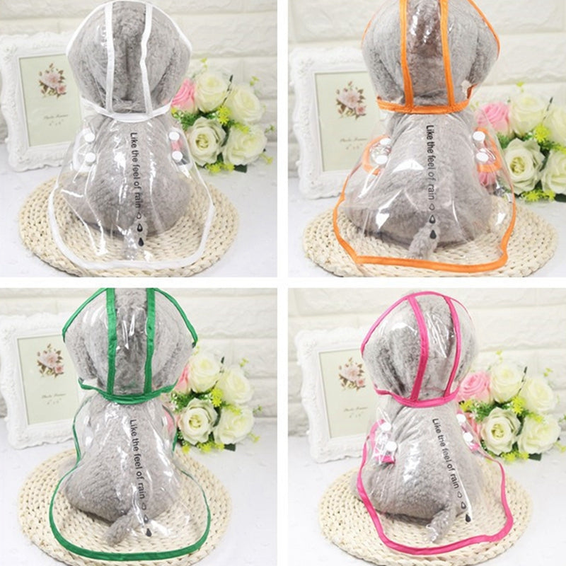 Transparent Waterproof Dog Raincoat with Hood for Small Dogs (Clear with Various Color Trim & Sizes) - dogsl1fe.myshopify.com - FREE SHIPPING - [variant_title] - Home of Top quality dog products & Accessories for dogs and dog lovers