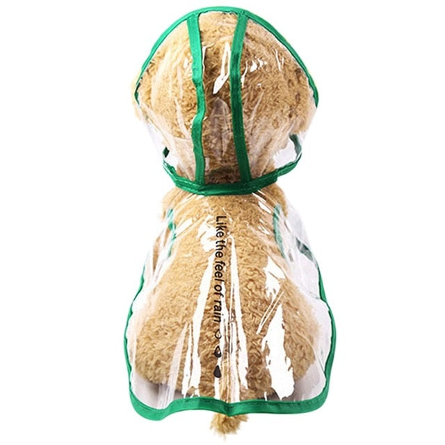 Transparent Waterproof Dog Raincoat with Hood for Small Dogs (Clear with Various Color Trim & Sizes) - dogsl1fe.myshopify.com - FREE SHIPPING - G / L / United States - Home of Top quality dog products & Accessories for dogs and dog lovers